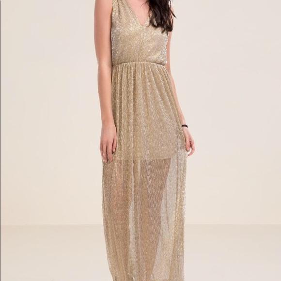9900e6a32 Francesca's Collections Dresses | Francescas Gold Metallic Micro ...